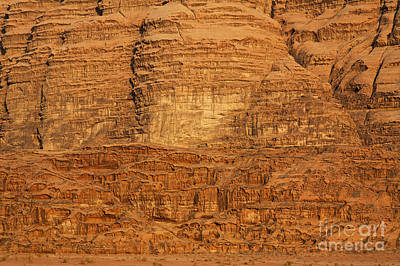 Close Up Of A Rocky Outcrop At Wadi Rum In Jordan Art Print by Robert Preston