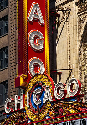 Western Script Photograph - Close-up Of A Theater Sign, Chicago by Panoramic Images