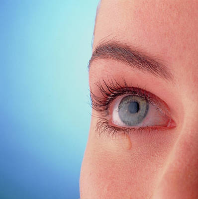 Close-up Of A Woman's Blue Eye With A Tear-drop Art Print by Phil Jude/science Photo Library