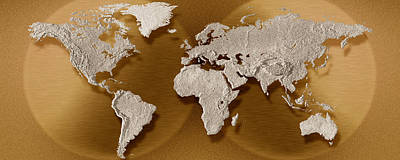 Cartography Photograph - Close-up Of A World Map by Panoramic Images