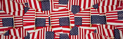 American National Flag Photograph - Close-up Of American Flags by Panoramic Images