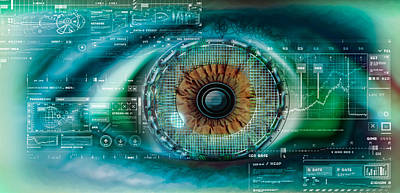 Metaphor Photograph - Close-up Of An Eye With Tech Diagrams by Panoramic Images