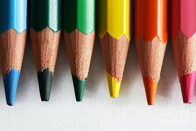 Colour Photograph - Close-up Of Colorful Pencils Isolated On White by Michal Bednarek
