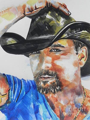 Tim Painting - Country Singer Tim Mcgraw 01 by Chrisann Ellis