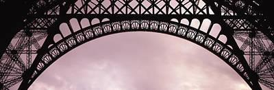 Grey Clouds Photograph - Close Up Of Eiffel Tower, Paris, France by Panoramic Images
