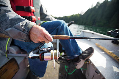Harrison Hot Springs Wall Art - Photograph - Close Up Of Fishing Rod Of Fisherman by Christopher Kimmel