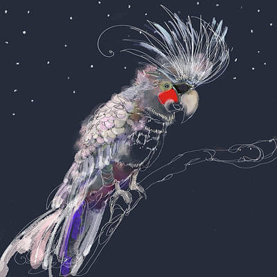 Cockatoo Wall Art - Digital Art - Close Up Of Flamboyant Grey Cockatiel by Janice Richter