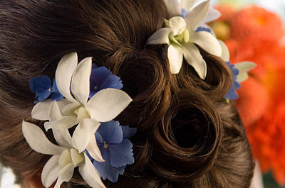 Blue Flowers Photograph - Close-up Of Flowers In A Brides Hair by Panoramic Images