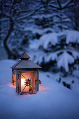 Close Up Of Glowing Lantern In Snow Art Print by Cultura Rm Exclusive/christoffer Askman