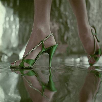 Rhinestone Photograph - Close Up Of Green High Heeled Sandals From Jordan by Henry Clarke