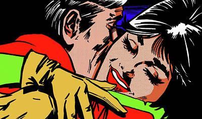 Eyes Closed Digital Art - Close Up Of Happy Woman Hugging Man by Jacquie Boyd