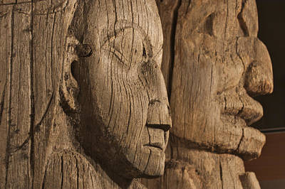 Totem Figure Photograph - Close Up Of Historic Totem Poles In by Clark Mishler