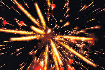 Close Up Of Ignited Fireworks Art Print by Panoramic Images