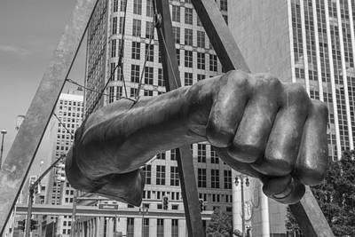 Close Up Of Joe Louis Fist Black And White  Art Print