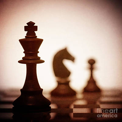 Close Up Of King Chess Piece Art Print by Amanda Elwell