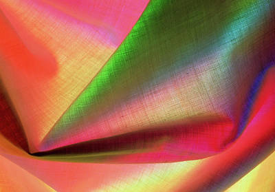 Linen Wall Art - Photograph - Close-up Of Linen Cloth Under Coloured Lights by Astrid & Hanns-frieder Michler/science Photo Library