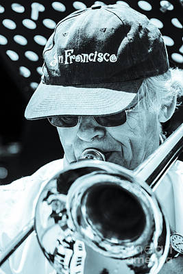 Close Up Of Male Trombone Player In Baseball Cap Art Print by Peter Noyce