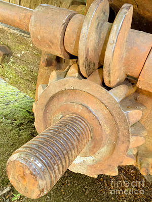 Pinion Photograph - Close-up Of Old Historic Rusty Iron Worm Gear by Stephan Pietzko