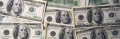 Close-up Of One Hundred Dollar Bills Art Print