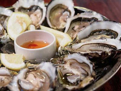 Close-up Of Oysters Served In Plate Art Print by Kelvin Kam / Eyeem