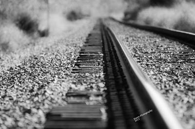 Art Print featuring the photograph Close Up Of Rail Road Tracks by Karen Kersey