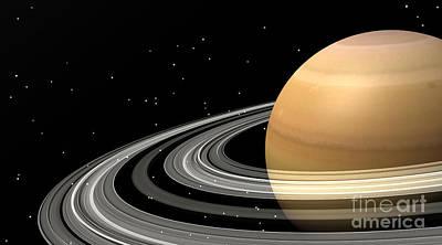 Circling Digital Art - Close-up Of Saturn And Its Planetary by Elena Duvernay
