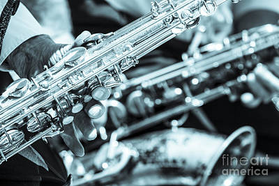 Saxophone Photograph - Close Up Of Saxophonist Fingering by Peter Noyce