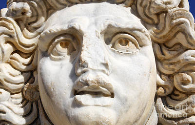 Medusa Photograph - Close Up Of Sculpted Medusa Head At The Forum Of Severus At Leptis Magna In Libya by Robert Preston
