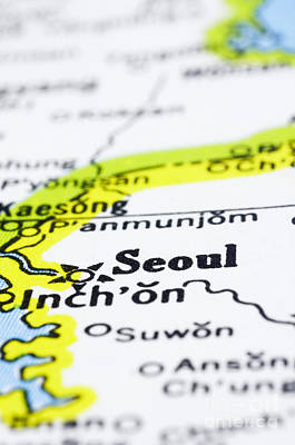 close up of Seoul on map-korea Art Print by Tuimages