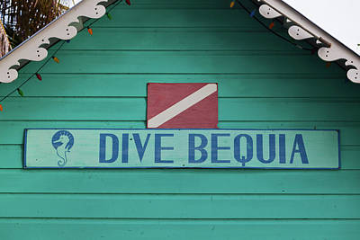 Port Elizabeth Photograph - Close-up Of Sign Dive Bequia, Port by Panoramic Images