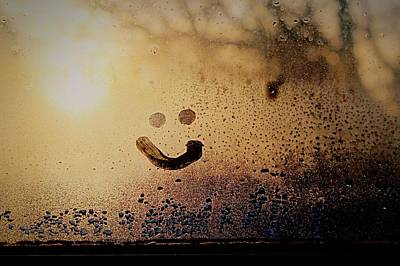 Close-up Of Smiley On Condensed Glass Art Print by Lacy Custance / Eyeem