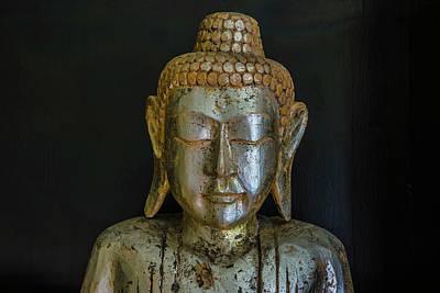Eyes Closed Photograph - Close-up Of Wooden Buddha Statue by Ingo Jezierski