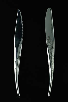 Table Knife Photograph - Close-up View Of Two Knives by Romulo Yanes