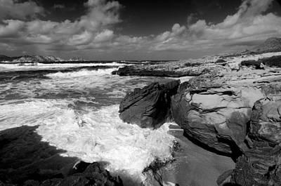 Menorca Photograph - Black And White Minorcan Beach - Close Your Eyes And Feel The Sea Aroma by Pedro Cardona Llambias