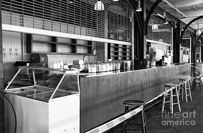 Stools And Counter Photograph - Closed Counter Mono by John Rizzuto