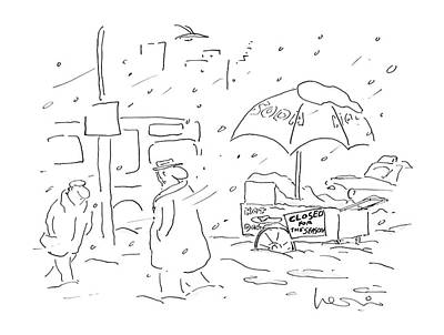 Hot Dog Stand Drawing - Closed For The Season by Arnie Levin