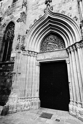 Side Entrance Photograph - Closed Old Side Door To Barcelona Cathedral Carrer De La Pietat Catalonia Spain by Joe Fox