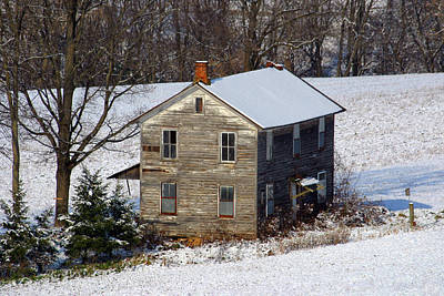 Photograph - Closer Winter View Of The Forgotten Farmhouse by Gene Walls