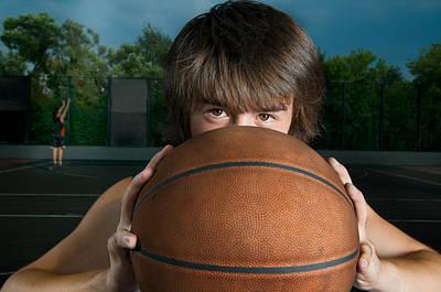 Closeup Of A Basketball Player Art Print