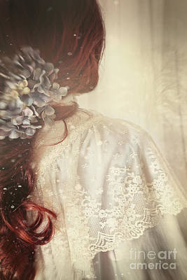 Photograph - Closeup Of A Girl With Long Red Hair And Flower by Sandra Cunningham