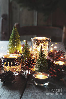 Pine Cones Photograph - Closeup Of Candles And Decorations For The Holidays by Sandra Cunningham