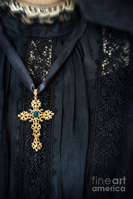 Photograph - Closeup Of Cross Necklace On Black Mourning Dress by Sandra Cunningham