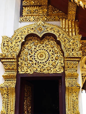 Phrathat Photograph - Closeup Of Golden Wooden Carving Entrance Gate by Ammar Mas-oo-di