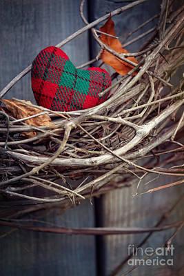Photograph - Closeup Of Little Heart On Grape Vine Wreath by Sandra Cunningham