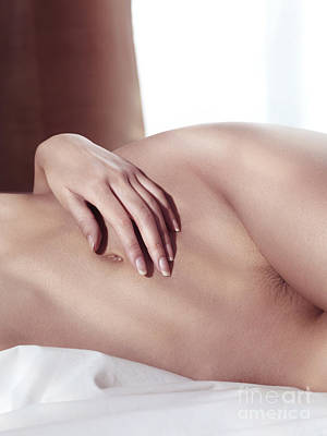Nude Photograph - Closeup Of Nude Woman Body In Bed by Oleksiy Maksymenko
