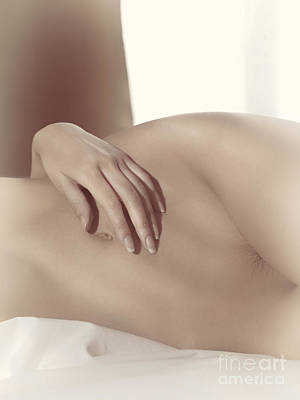Artistic Nude Photograph - Closeup Of Nude Woman Body In Bed Sepia Toned by Oleksiy Maksymenko