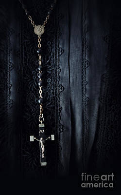 Photograph - Closeup Of Prayer Beads Against Black Morning Dress by Sandra Cunningham