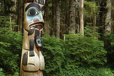 Totem Figure Photograph - Closeup Of Totem Pole Near Sitka Ak On by Peter Barrett