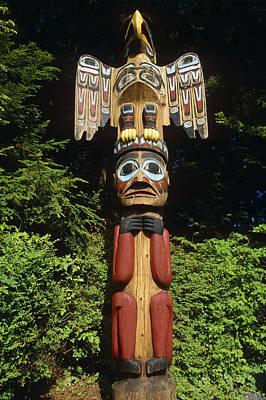 Totem Figure Photograph - Closeup Of Totem Pole  Totem Bight by Peter Barrett