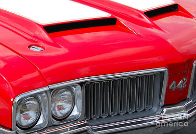 Photograph - closeup red Olds 442 by Mark Spearman